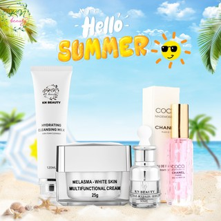 Kn Beauty - Combo face chuyên về nám gồm kem face, serrum, sữa rửa mặt Mẫu mới tặng nước hoa cao cấp - combofacesrmnh 1