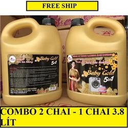 FREE SHIP_COMBO 2 CHAI NƯỚC GIẶT XẢ SIÊU LƯU HƯƠNG BABY GOLD 5IN1 - 1 CHAI 3.8 LÍT