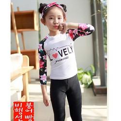 Quần áo bơi dài tay Thun lạnh quảng châu cho bé gái