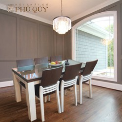 Bộ bàn ăn 6 ghế hiện đại Đen Trắng gỗ sồi