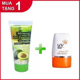 Combo Sữa rửa mặt Bơ OIL control tặng kem chống nắng UV 50 Thái LAn - bo+uv1