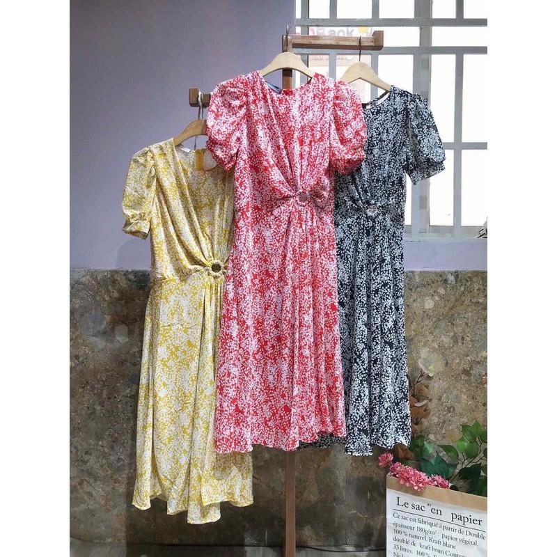 Đầm Xoè Hoạ Tiết Hoa Khoét Eo – K150