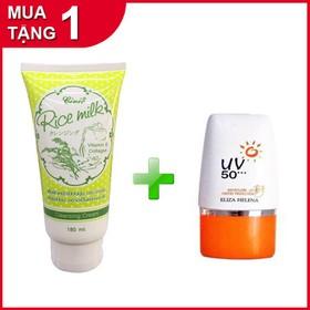 Combo Sữa rửa mặt Gạo Rice Milk Thái lan 180ml tặng Kem chống nắng UV50 - gao+uv1