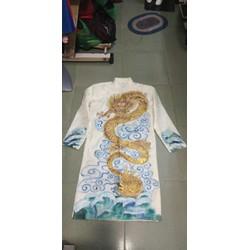 Áo dài nam trắng vẽ tay họa tiết rồng