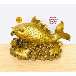 Cá Chép nhả Ngọc - quanh năm có Vàng - Tượng Đồng Phong Thủy - CC01 thumbnail
