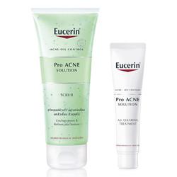 Bộ Gel Tẩy Da Chết Da Mụn Eucerin Pro ACNE Solution Scrub (100ml) Và Kem Làm Giảm và Ngăn Ngừa Mụn Eucerin ProAcne Clearing Treatment Eucerin (40ml)
