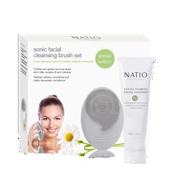 [MÁY RỬA MẶT] Bộ Quà Tặng Làm Sạch Da Mặt Natio Sonic Facial Cleansing Brush Set (Máy Rửa Mặt Và Sữa Rửa Mặt Dịu Nhẹ)