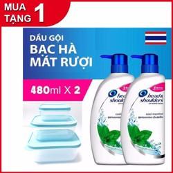 Tặng 3 hộp đựng thức ăn cao cấp Combo 2 chai DẦU GỘI Head shoulders Thái Lan 480ml