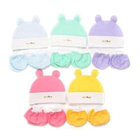Nón sơ sinh - Mũ sơ sinh tai thỏ - Combo 1 bộ nón tai thỏ và 1cặp bao tay chân bo - nón cho bé