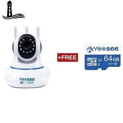 Bộ camera giám sát Yoosee 3 râu 2.0M FULLHD 1080P Kèm Thẻ Nhớ 64Gb