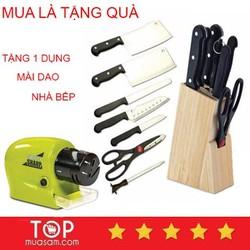 [ kèm hộp khay gỗ ] Bộ Dao Inox Làm Bếp 7 Món cao cấp đa năng tặng 1 máy mài dao tiện dụng