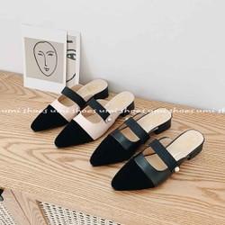 Giày Sục Mũi Nhọn Đính Ngọc Mix 2 Màu Mẫu Mới 2020 Bán Chạy Siêu Hot Trend Thoáng Chân Mùa Hè Đơn Giản Nữ Tính Nhẹ Nhàng