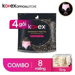 [Tặng 3 gói khăn bỏ túi Kleenex] Combo 4 BVS đêm dạng quần M/L x2 16 miếng