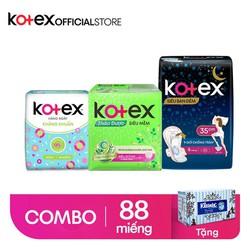 [Tặng 1 hộp giấy Kleenex VINTAGE] Combo 1 Kotex hằng ngày + 4 Kotex thảo dược cool + 2 BVS Kotex Siêu Ban đêm 35cm SMC 8 miếng