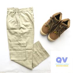 Quần áo bảo hộ - Quần áo công nhân - Bộ quần áo bảo hộ ghi phối xanh - Vải V31 kaki liên doanh - Quần túi hộp