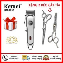 Tông đơ cắt tóc chuyên nghiệp-Tông đơ cắt tóc kemei Km 1998 tặng 2 kéo
