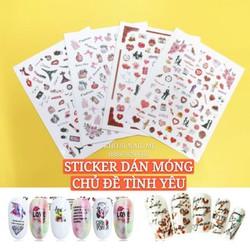 Miếng Dán Móng Tay 3D Nail Sticker Chủ Đề Cô Nàng Hiện Đại Và Tình Yêu Mộng Mơ Lẻ 1 Tấm