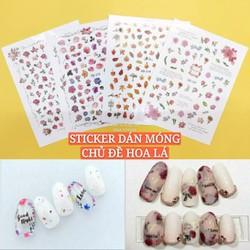 Miếng Dán Móng Tay 3D Nail Sticker Trang Trí Móng Tay Nghệ Thuật Chủ Đề Hoa Lá Trendy Lẻ 1 Tấm