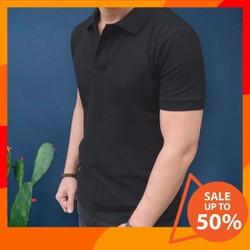 [BAO ĐẸP ĐƯỢC XEM HÀNG] Áo phông nam cổ bẻ vải cá sấu co giãn trẻ trung năng động màu đen
