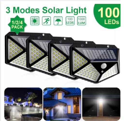 Đèn Led Năng Lượng Mặt Trời Với 100 Đèn LED