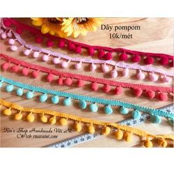 Dây pompom đủ màu may phối áo đầm, gối, đồ handmade- Nguyên liệu handmade, dùng trong may mặc