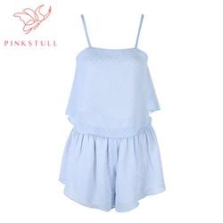 Bộ đồ ngủ dây ngắn Pink Stull chấm bi xanh pastel