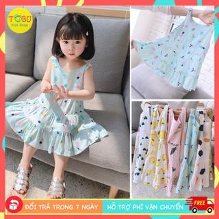 Váy lanh 2 dây TBKV27 - Váy 2 dây bay bổng thoáng mát cho bé 1 - 6 tuổi