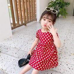 Đầm bé gái chấm bi hở lưng mầu đỏ