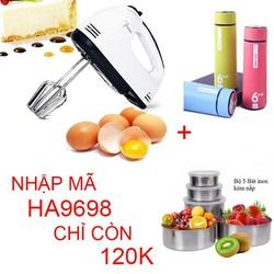 [ FREE SHIP ] Máy đánh trứng - tạo bọt cầm tay 7 tốc độ tặng 2 bình đựng nước và 1 bộ 5 bát đựng thực phẩm