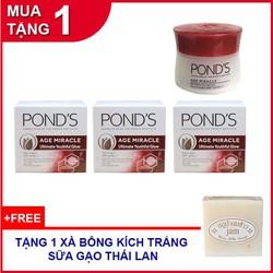 Combo 3 hộp kem Ponds Age Miracle 10g ngăn ngừa lão hóa ban ngày tặng 1 Soap gạo Thái Lan
