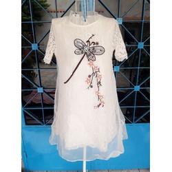 Đầm ren thêu họa tiết