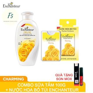 Combo Chai Sữa Tắm Nước Hoa Enchanteur Deluxe 100gr và Nước Hoa Bỏ Túi Tặng Son Mox Đỏ Cam - cbsuatamnuochoaquatangsonmox thumbnail
