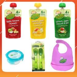 [Tặng kèm yếm/chén/muống nĩa] Combo 3 túi trái cây, rau củ xay mịn Rafferty's Garden cho bé từ 4 tháng tuổi