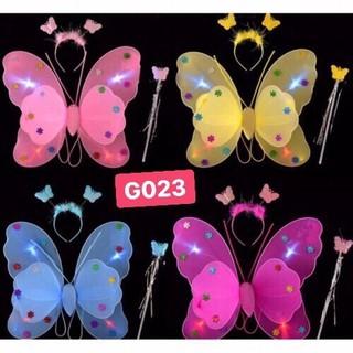 Bộ cánh bướm có đèn, kèm bờm và gậy cho bé - cánh bướm thumbnail