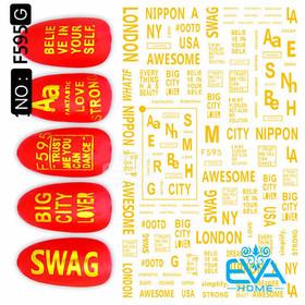Miếng Dán Móng Tay 3D Nail Sticker Tráng Trí Hoạ Tiết Chữ Viết Alphabet F595G - 0010002304