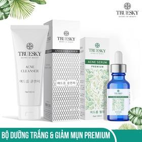 Bộ trị mụn da mặt Truesky Premium gồm 1 serum trị mụn tràm trà 20ml + 1 sữa rửa mặt tạo bọt than hoạt tính 60ml - TRUESKY_ SRM + SERUM