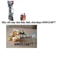 Máy siết nắp chai thuốc si rô, máy siết nắp chai rượu, chai nước suối, chai mật ong, máy đóng nắp chai thủy tinh nắp nhôm bán tự động JGS 880