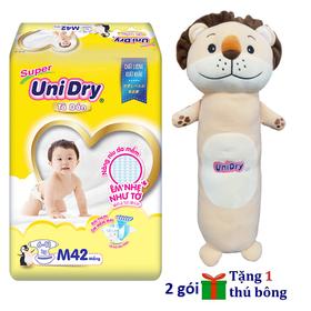 [Tặng 1 gối ôm sư tử] Combo 2 gói tã dán Unidry size M42 - size L38 - size XL34 - UNI-05
