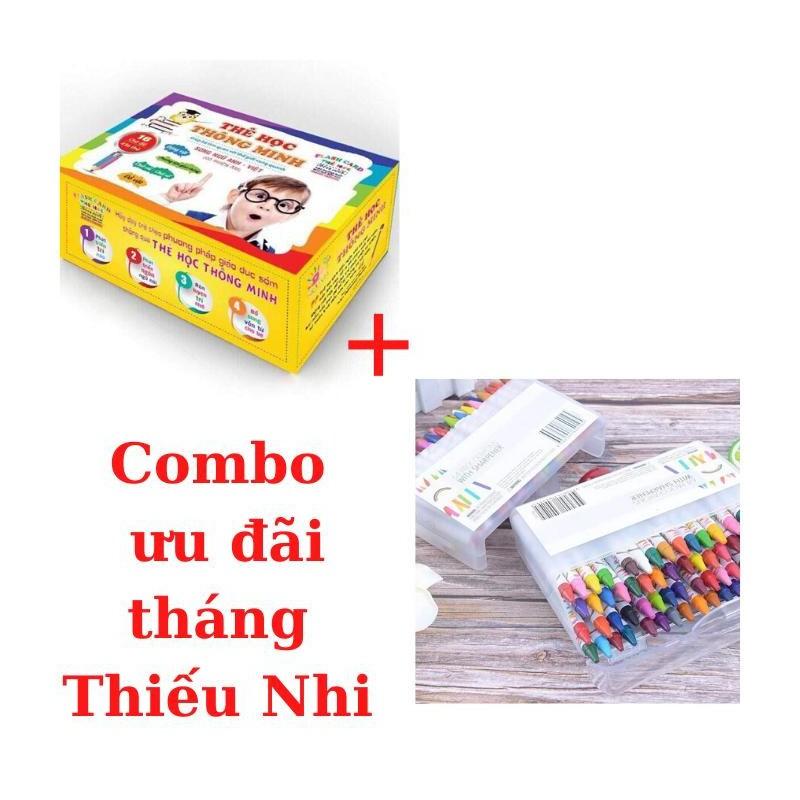 Combo thẻ học & hộp màu sáp 64 cây cho bé – HM64+BTSB