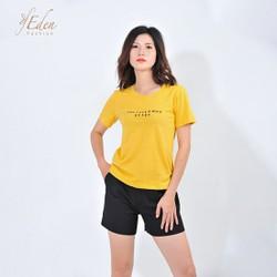 Áo Thun Nữ Thời Trang Eden Tay Ngắn Thêu Chữ - AT087