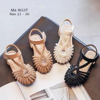 Dép sandal bé gái 1 – 12 tuổi da mềm tết sam điệu đà và duyên dáng SG37
