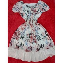 [FREE SHIP] Đầm xòe vải lụa hoa voan chiffon 2 lop