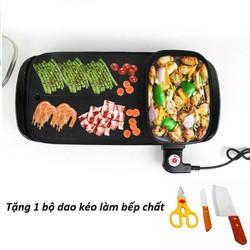Bếp lẩu nướng 2 ngăn cao cấp SmartHome tặng kèm bộ dao kéo làm bếp chất