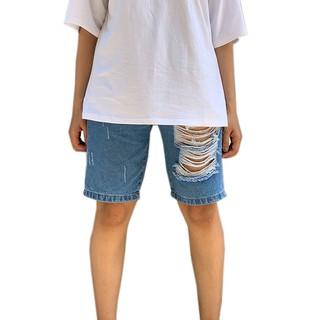 Quần jean lửng ngố bigsize unisex thời trang Ulzzang rách 1 bên - QJ5004 thumbnail