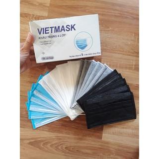 Hộp 50 Chiếc Khẩu Trang Y Tế Mix 4 Màu (xanh, xam, trang, den) 4 lớp - Hộp trộn 4 màu xanh- trắng- xám- đen 1