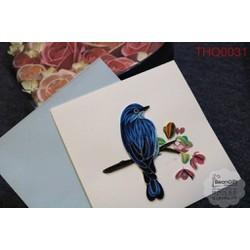 Thiệp xoắn quilling chim én xanh