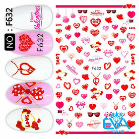 Miếng Dán Móng Tay 3D Nail Sticker Tráng Trí Hoạ Tiết Chủ Đề Tình Yêu F632 - 0010002630
