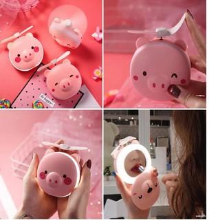 Gương hình con heo kèm quạt và đèn led - Tặng cáp sạc usb thumbnail