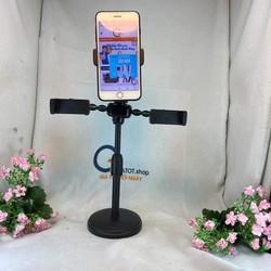 Giá kẹp đỡ điện thoại livestream cùng lúc 3 điện thoại để bàn giá rẻ