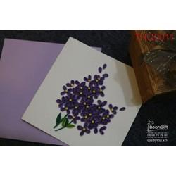 Thiệp giấy xoắn nghệ thuật hoa tím